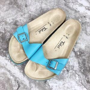 Birkinstock Tula Blue Leather Slip On Sandals 7